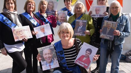 Susan Bissmire, front centre, who started the campaign, with other members of PAIN (Pension Action i