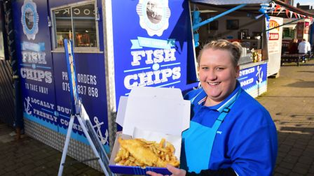 Connie Hodges has opened the first ever Fish and Chip stall on Yarmouth Market Place. The charter ha