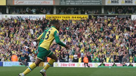 Martin Olsson celebrates scoring his crucial winner over Newcastle at Carrow Road. Picture by Paul C