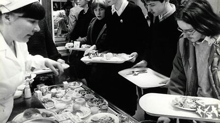 Blyth Jex students queue up for their school dinners in 1985.