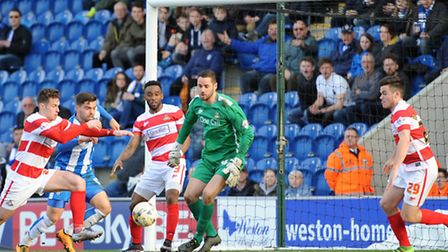 Remi Matthews in action for Doncaster during his debut at Colchester. Picture: Phil Morley