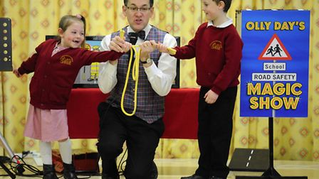 Olly Day giving a road safety roadshow to the children of North Walsham Manor Road Infants School. P