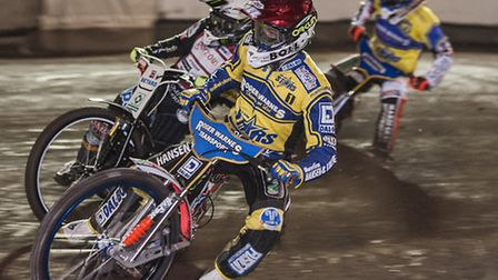 Niels-Kristian Iversen, red, will be looking to spearhead Lynn's aims of two victories in a day. Pic