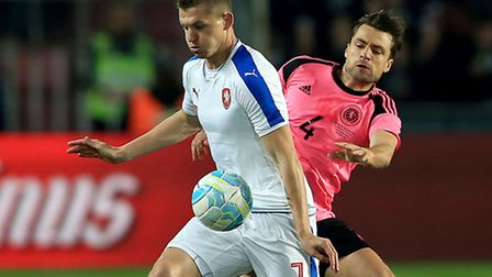Czech Republic's Tomas Necid (left) and Scotland's Russell Martin battle for the ball during the Int