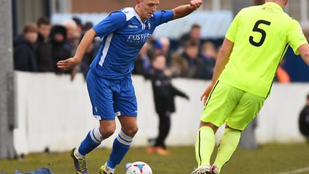 Jake Reed is out of Lowestoft Town's game at Nuneaton because of damaged ankle ligaments. Picture: J
