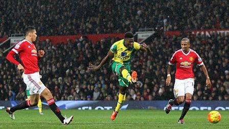 Alex Tettey scores Norwich City's winner against Manchester United when the two sides met earlier in