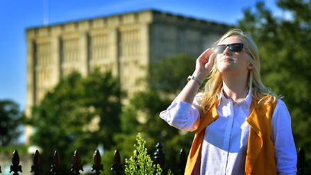 Weather. Enjoying the sunshine at Norwich Castle.Picture: ANTONY KELLY