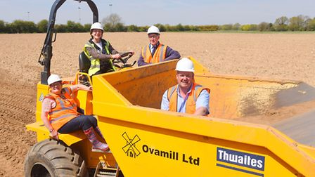 Work has begun on the new cemetery at Dereham. Pictured are (from left) town mayor Linda Goreham, ar