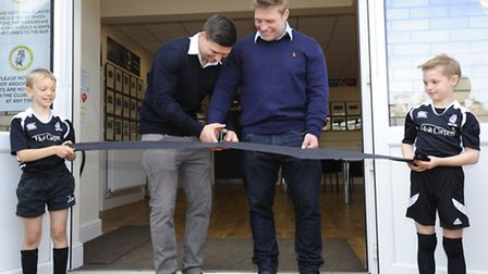 England and British Lions rugby stars Ben and Tom Youngs open the newly completed extension to Holt