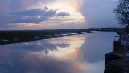 Sidney Hart's photo of a sunset over the River Bure near Caister.