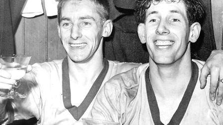 Terry Bly with Canadian winger Errol Crossan, left, in March 1959.