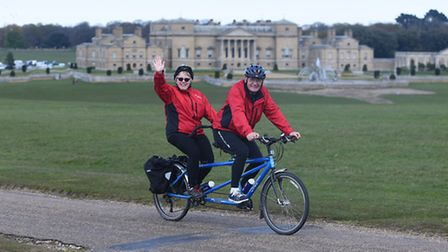 Cyclists on the Holkham Estate, taking part in the 'Pedal Norfolk' weekend. Picture Ian Burt.