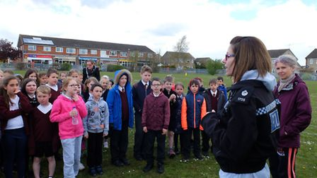 PC Caroline Whatmore talks to Admirals Academy students before they take part in the Run to Remember