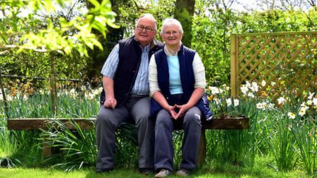 Christine and Philip Greenacre in their garden in Rushall which they will be opening to the public t