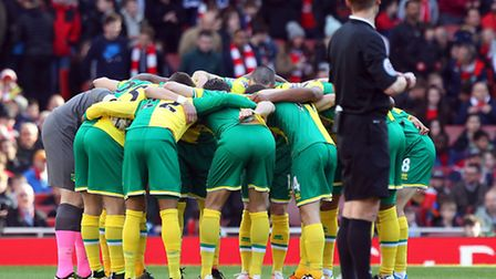 The Norwich City players in the pre-match huddle at The Emirates. Picture: Paul Chesterton/Focus Ima