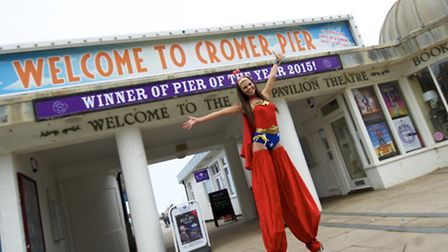 The model walked a mile on stilts around Cromer to raise money for Sport Relief. Picture: MARK BULLI