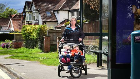Eaton resident Gill Smith pictured with her twin grandchildren Samuel and Amelia Smith (3) and their