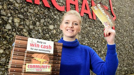 Eastern Daily Press reporter Jemma Walker with a Community Chest box. Picture: ANTONY KELLY