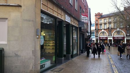 Clarks on Brigg Street where a woman was injured after a sign fell from a the shop. Photo: Archant.