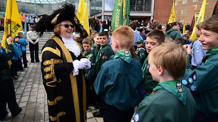 The Scout's St George's Day parade in Norwich. Lord Mayor of Norwich Brenda Arthur talking to the sc