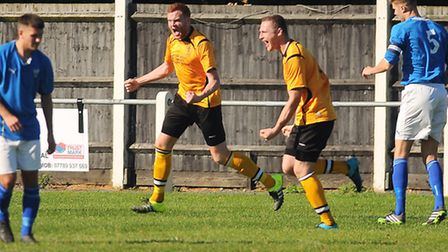 Kyle Plumb,second left, had plenty to celebrate about on Saturday. Picture: IAN BURT