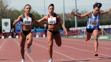 Norwich sprinter Clieo Stephenson, left, on her way to winning gold at the British Universities and