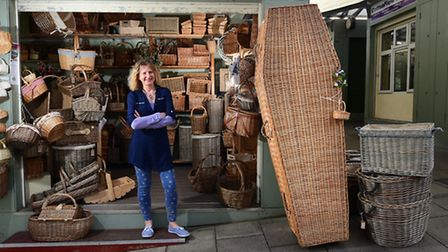 Ruth Phelps, who has a stall on Norwich market selling wicker baskets, has now started selling wicke