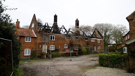The remains of Silvergate Cottages near Blickling Hall which was devastated by fire in which nearly