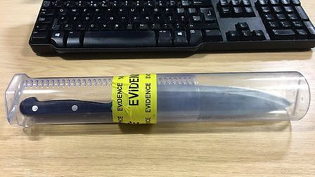A photo of the knife which was consficated on Sunday. Photo: Norfolk Police/@GYarmouthPolice Twitte