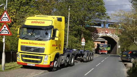 The railway bridge on Aylsham Road in North Walsham which was struck by a shipping container being h