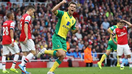 Jonny Howson celebrates his goal the last time Norwich City faced Arsenal at The Emirates.