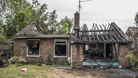 The aftermath of a bungalow fire on Cecil Close in Watlington. Picture: Matthew Usher.