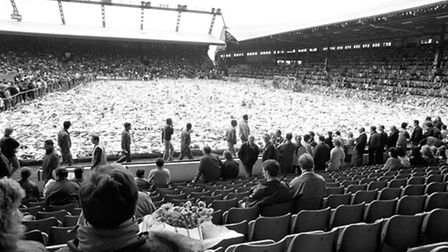 Photo dated 22/04/1989 of fans gathering at Anfield for a ceremony of remembrance following the Hill