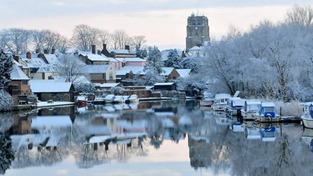 A view along the river Waveney to St Michael's church, Beccles.