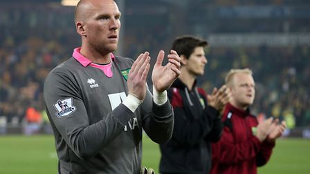 John Ruddy, Timm Klose and Steven Naismith during the lap of appreciation at the end of the season.
