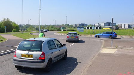 The old roundabout at The Postwick Hub where temporary lights may be trial led to ease congestion.PH