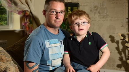 Max Hannant, 3, with his dad Ben Hannant.Picture: ANTONY KELLY