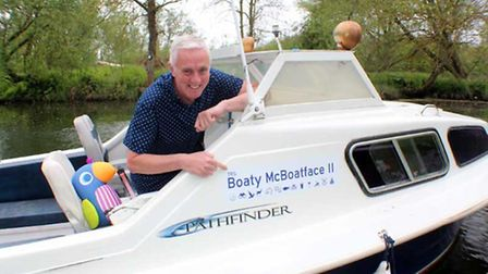 Martin Kentish with his Boaty McBoatface II on the Norfolk Broads. Photo: Submitted