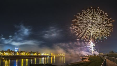 Fireworks are set off from West Lynn, over King's Lynn waterfront, to celebrate the Hanse Festival 2