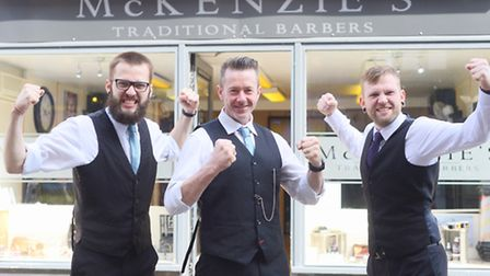 Barbers based in King's Lynn (from left) Elliot Branford, Cameron McKenzie and Olly Branford are in