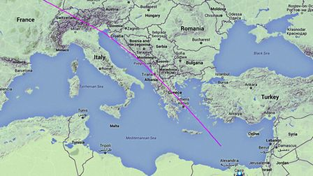 The track displayed on Flightradar24 showing the EgyptAir aircraft travelling from Paris to Cairo wi