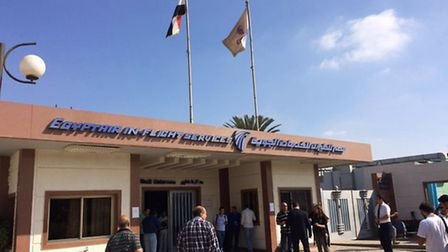 The EgyptAir in-flight service building where relatives are being held at Cairo International Airpor