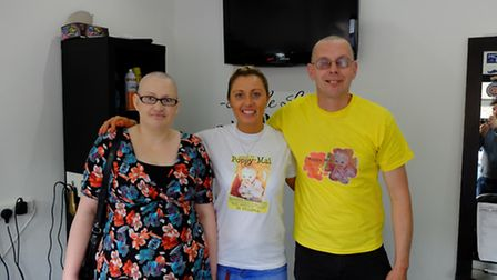 Wendy Ley, Hayley Da Graca and Tim Bullett after Tim and Wendy had their heads shaved at Style Loung