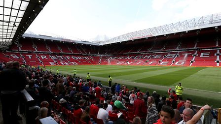 Empty stands after a security alert during the Barclays Premier League match at Old Trafford, Manche