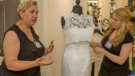 Ria Underwood, left and Lauren Youngs at the EDP Bride wedding show. PICTURE: Lee Blanchflower