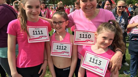 Rebekah Marsh and her daughters Martha, 13, Betsy, nine and Hattie, seven, all took part in the Race
