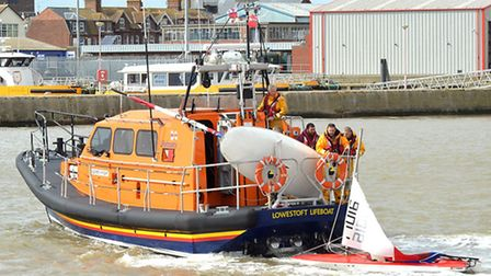 The crew of the Lowestoft RNLI lifeboat Patsy Knight were called after some Topper dinghies capsized