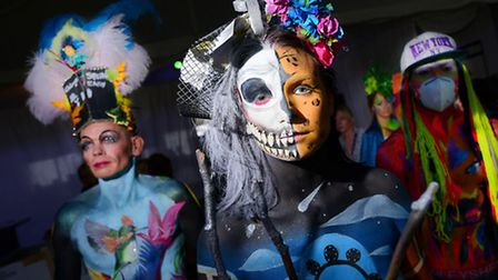 Artists and models take part in Paintopia, the UK's largest face and bodypainting festival, at Sprow