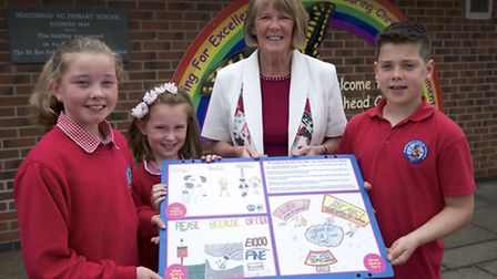 PRIMARY CONCERN: Councillor Angie Fitch-Tillett visited Neatishead Primary to present the winners wi