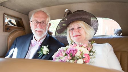 Mike Ling and Brenda Davey on their wedding day. Picture: SIMON WATSON PHOTOGRAPHY